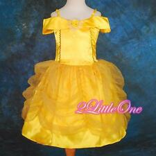 Girl Disney Belle Princess Halloween Costume Party Fancy Dress Up Size 3T-9 #017