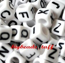 50pcs 6mm white cube alphabet single letter beads A - Z