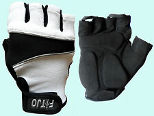WHITE GEL PADDED WEIGHT LIFTING / GYM / GLOVES S - XL