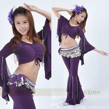 SF19# Belly Dance Bead Chain Flared Costume 2 pcs(Top, Pants) 9 Colors
