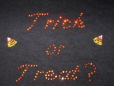 Girls/Youth Size Halloween Fall Rhinestone TRICK OR TREAT ? CANDY CORN T-Shirt