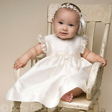 "Baby Beau & Belle ""Leila"" Girls Silk Christening, Baptism, Blessing Dress"
