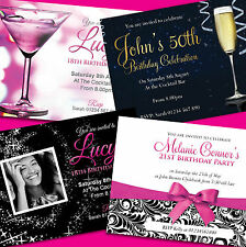 Personalised Birthday Invitations ★ Party Invites ★ 18th 21st 30th 40th, 50th