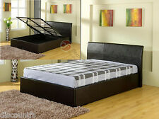 3ft 4ft 4ft6 5ft Fusion Faux Leather Ottoman Storage Bed Frame Black Brown White