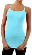 Long Cami With Shelf Bra Camisole Adjustable Spaghetti Strap tank top S M L