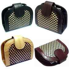 Luxury Genuine Eel skin Leather NET Halfmoon Wallet with Coin Purse Case 4color