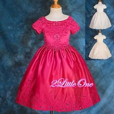 Satin Embroidery Dress Wedding Flower Girl Pageant Party Size 3T-10 149