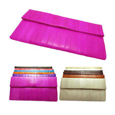 Genuine Eel skin Leather  CLUTCH Handbag Wallet Purse 12 Colors
