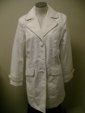 Dennis Basso Water Repellent Paisley Lined Jacket  White NWT