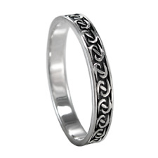 Narrow Sterling Silver Braided Celtic Knot Band Ring sz 4-15 SS Irish Jewelry