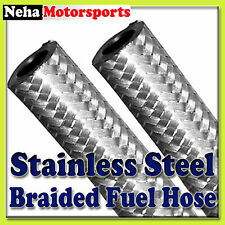 """6mm 1/4""""I.D Stainless Steel Braided Rubber Nitrile Fuel Diesel Petrol Hose Line"""