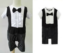 (6-24M) Baby Boy Short Sleeve Ruffle Tuxedo with Bowtie (Christening, Baptism)