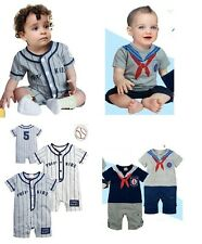 (3-18M) Baby Boy Sporty Baseball / Sailor Marine Character Bodysuit, clothes
