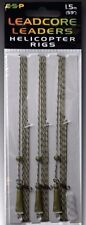 """ESP CARP FISHING LEADCORE LEADERS HELICOPTER RIGS - 1.5m (59"""") - 3 PER PACK"""