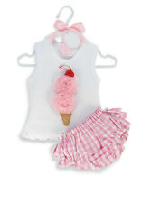 6-24M Baby Girl Ice Cream Top Pink Ruffles Blommer Diaper Panties set Outfit