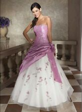 Storage  Strapless Lavender white Wedding Dress Bridal gowns Proms lace up