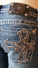 MISS ME JEANS SILVER LEATHER ROSE CROSS BOOT CUT JP6074B MK24D