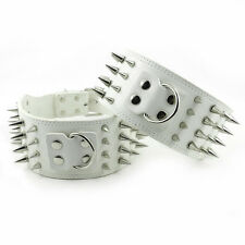 "3"" White Spiked Dog Leather Collars for Pitbull Dogs Large Collars Boxer Amstiff"