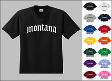 State of Montana Old English Font Vintage Style Letters T-shirt