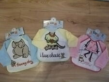 BABY BOY/GIRL LONG SLEEVE FUN PARTY FEEDING BIB WATERPROOF BACK VELCRO NECK NEW