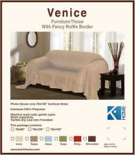 TAUPE VENICE FURNITURE THROW COVER, FANCY RUFFLE BORDER, SLIPCOVER LOVESEAT SOFA