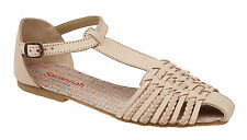 L6059 Beige leather ladies flat T bar buckle strap sandal full interwoven upper