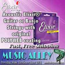 Elixir  Acoustic 80/20 Bronze Guitar Strings w/Polyweb Coating YOU CHOOSE gauge