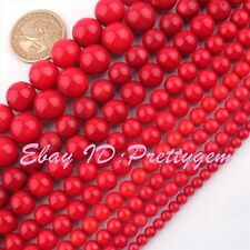 """2,3,4,6,8,10,12mm Natural Round Red Coral Gemstone Beads Spacer Loose Strand 15"""""""