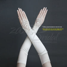 Satin Fingerless Gloves with a Floral Embroidery Lace, Sequins and Pearl Accent