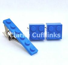 LEGO ® Brick Cufflinks and Tie Slide Clip Set- SILVER PLATED - Mens Wedding Gift