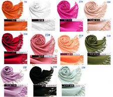 Pashmina Women Solid Scarf wool Cape Wrap Cashmere Shawl as xmas gift -11 colors