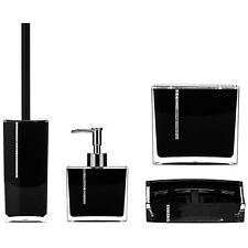 Amazing New Style Bathroom Accessories Stunning Black Acrylic with Crystals Set