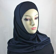 New Two Piece Islamic Plain Solid Colors Amira Hijab Abaya Muslima Headscarf