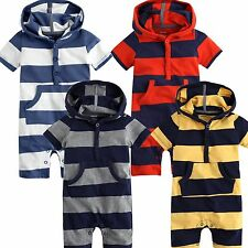 "NEW Newborn & Baby's Unisex Colourful Pocket Hoddie One-Piece "" Hoodie Stripe """