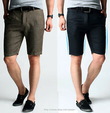 Slim Fit Style Mens Casual Shorts Pirate Pants & Card Holder Cotton, Black Brown