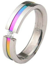 Pride Shack - Rainbow Anodized Tension CZ Ring LGBT Lesbian Gay Pride Ring Steel