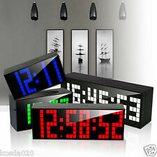 Digital Large Big Jumbo LED Snooze Wall Desk Alarm Clock with Thermometer Indoor