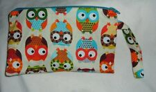 owls wristlet cosmetic bag tote strap purse Alice Kennedy owl fabric blue pink