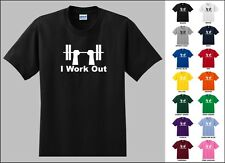 I Work Out Funny Gym Exercise Lifting Weights Bench Pressing T-shirt