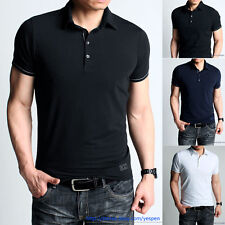Slim Fit Mens T-Shirt Polo Shirts Basic Colored Tee Plain Cotton & Lycra 2 Color