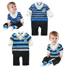 3-21M Baby Boy Twins Long Sleeve White Polo Shirt +Stripes Pullover +Denim Jeans