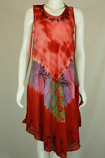 NEW BOHO HIPPIE TIE DYE EMBROIDERER FULL TANK TOP UMBRELLA DRESS FREE SIZE 8-22