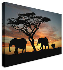 Large Elephant Trio Silhouette Canvas Pictures Wall Art Prints