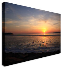 Large Sunset Seascape Dark Sea Flare Canvas Pictures Wall Art Prints