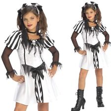 Girls White Black Punky Pirate Costume - Kids Childrens Halloween Fancy Dress