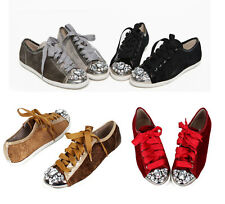 New Womens Cubic Studs Lace Up Python Embossed Sneakers Sheos Fashion US Sz 6~8