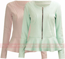 C60 NEW WOMENS CROPPED JACKET LADIES LUCY PEPLUM FRILL BLAZER TAILORED COAT TOP