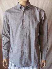 New HUGO BOSS Mens Grey Black L/S Button Down Lucas Woven Dress Shirt Top $155
