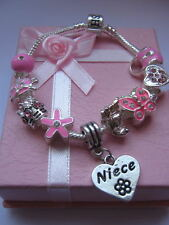 """CHILD/TEEN PINK CHARM BRACELET 7"""" DAUGHTER/NIECE/SISTER/GRANDDAUGHTER BOXED GIFT"""