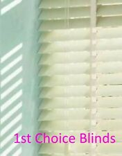 MADE TO MEASURE WOODEN VENETIAN BLIND CREAM WITH TAPES REAL WOOD 50MM SLATS
